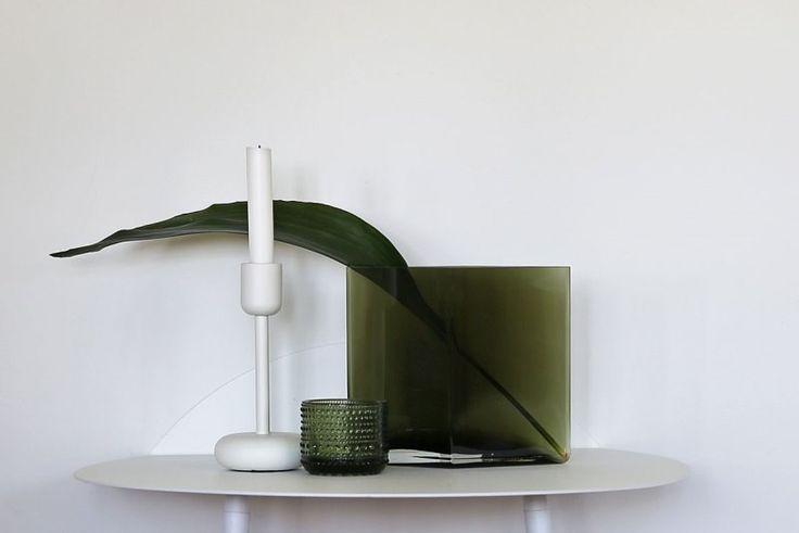 Iittala moss green glass - Ruutu vase, nappula, Kastehelmi