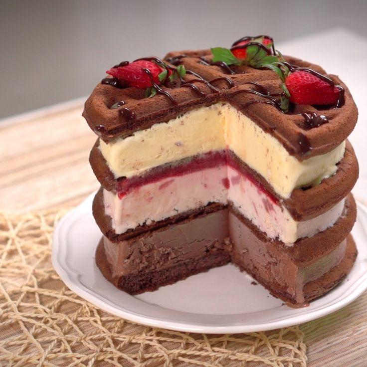 Waffle Ice Cream Cake #sponsored by Food Network