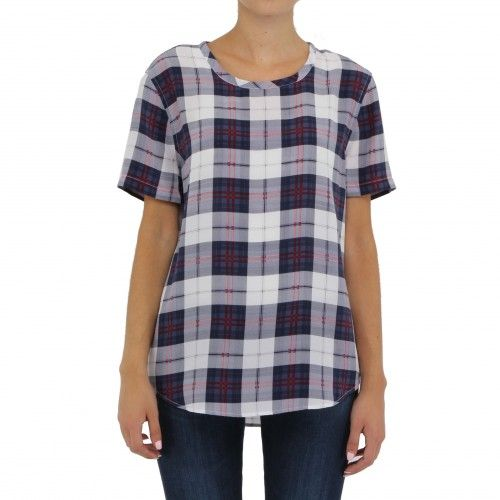 Equipment Riley Tee. A classic relaxed fit tee with slight shirttail hem in classic plaid.