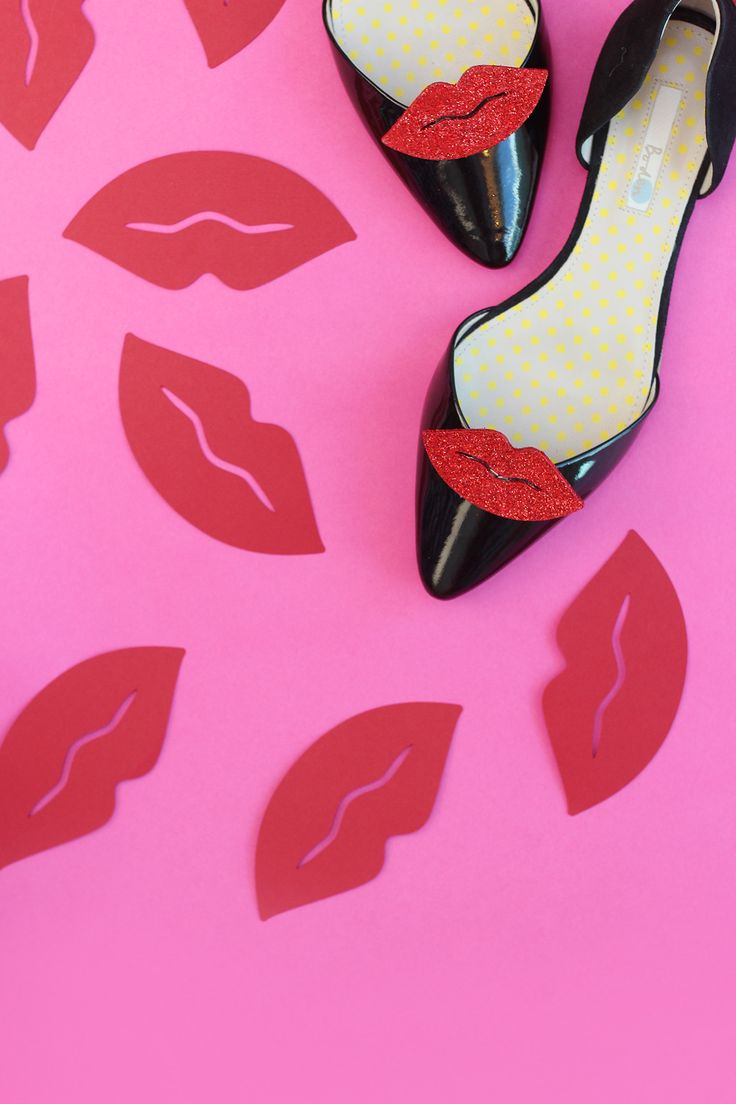 Shoe ornament clips - Craft My Flats Red Lips Damask Love Diy Shoeshoe Clipsshoes
