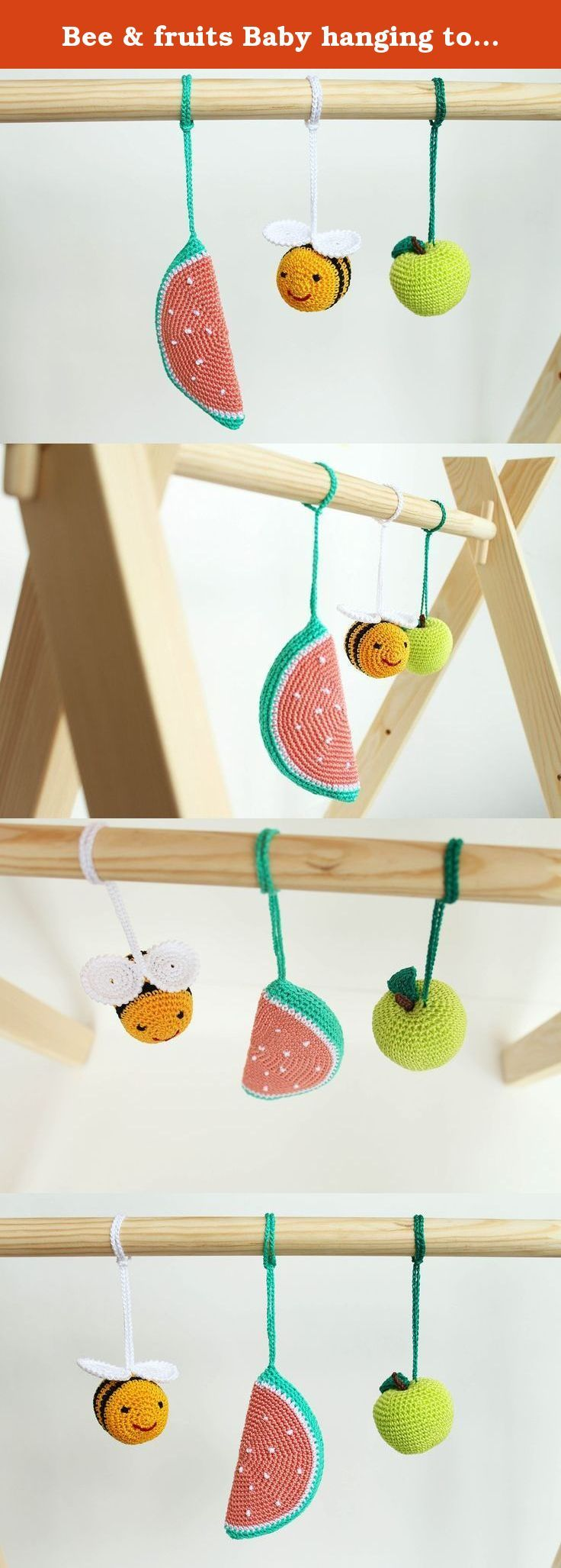 Bee & fruits Baby hanging toy, play gym toy, crib toy, Baby Rattle, nursery decoration, crochet, Montessori, shower newborn gift. This set of baby gym toys is made to entertain your baby and encourage important development skills. Your baby will get so much joy from the sensations, sounds and visual delights these fruits give. ♥ Two colorful fruits (an apple,a slice of watermelon) and a flying bee will capture your baby's attention. ♥ The items are handcrafted with pleasant sounding small...