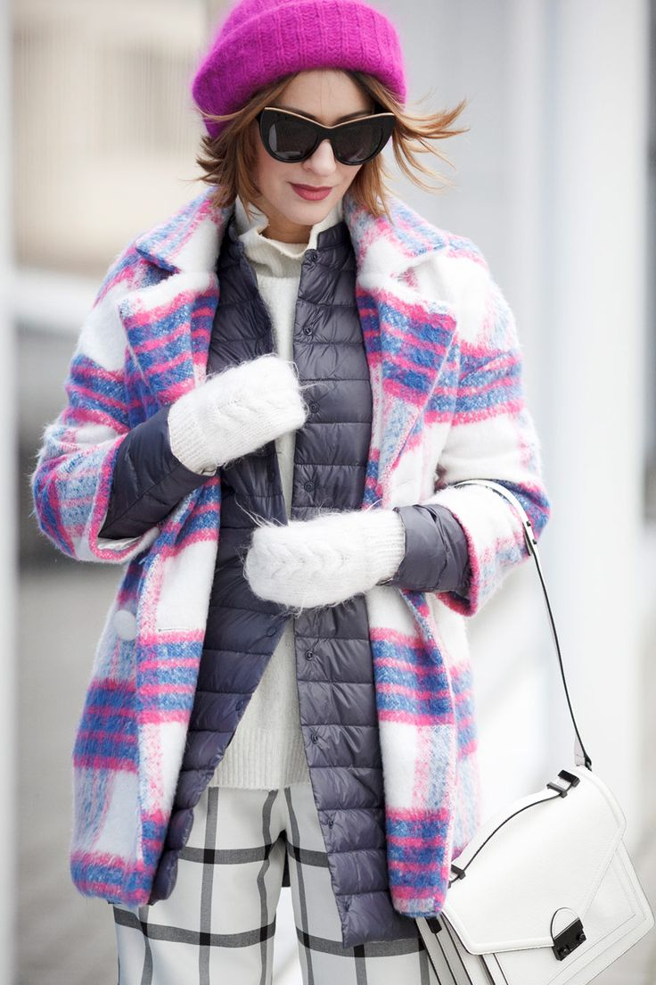 winter layers, winter layering, checkered coat, checkered coat outfit, plaid coat outfit, playful winter street styles,