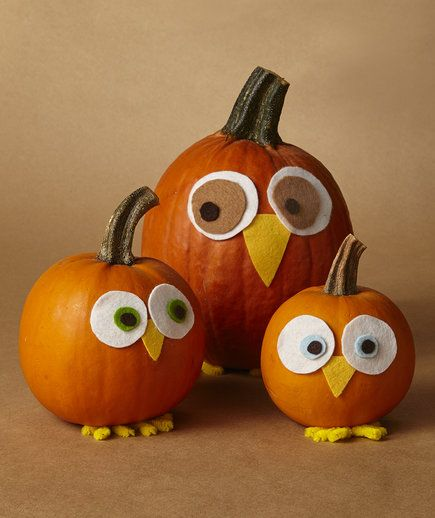 Kids will love these pumpkins disguised as owls. Make one for each member of your family, and sit them at the center of your fall table.