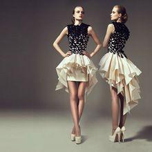 Moda Negro Corto Sexy Vestidos de Baile 2016 de Alta Cuello Alto Bajo Vestidos…