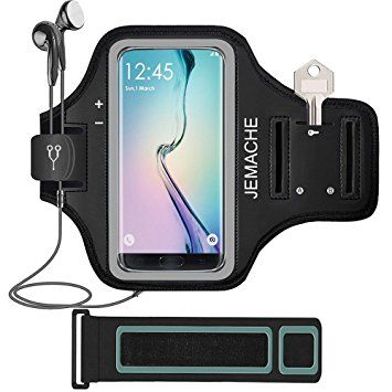 """Galaxy S8 Armband, JEMACHE Gym Run Workout Arm Band for Samsung Galaxy S8/S7 Edge with Key/Card Holder 5.5"""" Extender Strap - Running Jogging Exercise (Black)"""