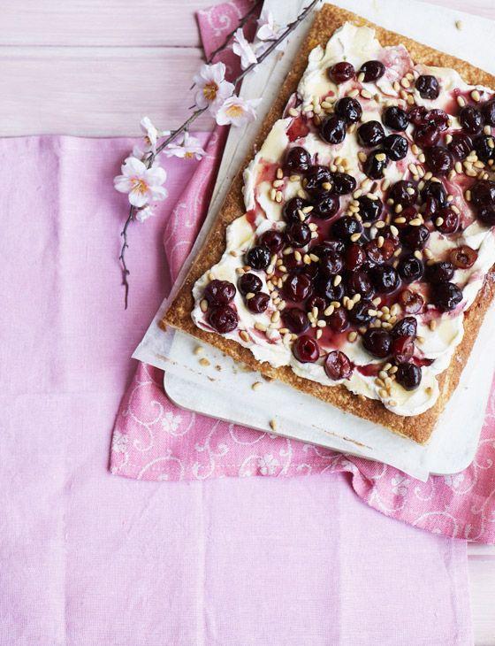 Quick cherry, ricotta and honey tart.:
