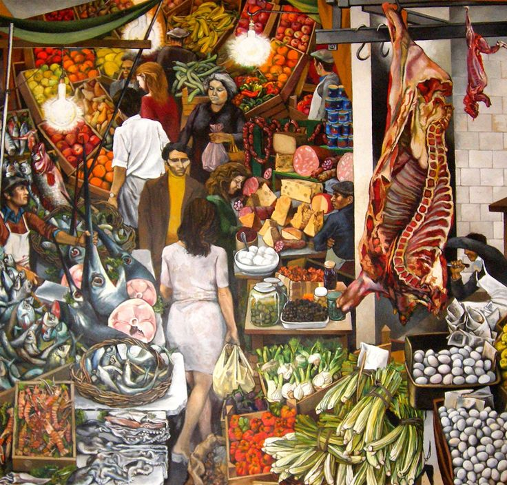 Renato Guttuso – La Vucciria – Food on canvas