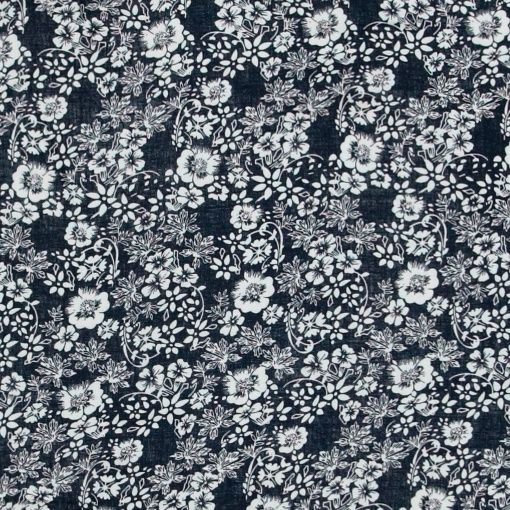 Woven viscose navy with white flowers