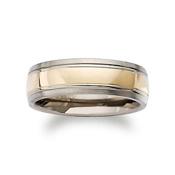 Men's 7mm Titanium and 14kt Yellow Gold Wedding Ring. Our fabulous 7mm two-tone wedding ring for a very special groom has an elegant, substantial design with an inlaid central band to add a contemporary touch to his look. Satin and polished titanium and 14kt yellow gold wedding ring. >>Click on the Men's Wedding Band to shop the Ross-Simons collection.