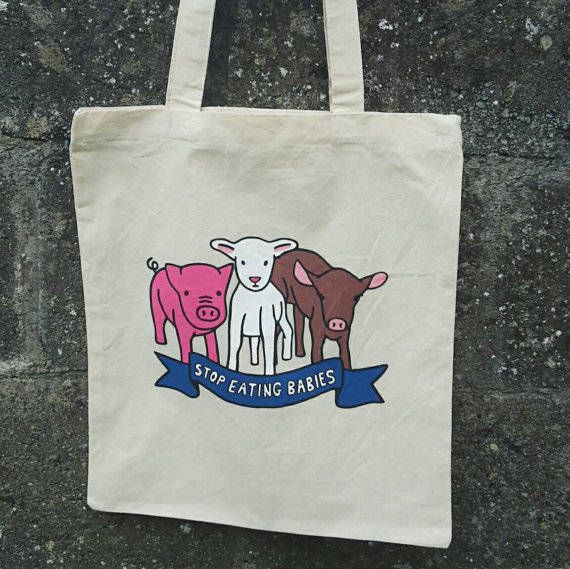 Vegan Tote Bag, Vegan Canvas Tote, Vegan Gift Ideas, Farmers Market Bag, Vegan Cotton Tote, Vegan Tote Bag Etsy
