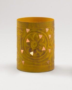 Coldwater Creek Mediterranean candle yellow holder by Coldwater Creek. $7.99. Sun-themed designs swirled in iron, then embossed and buffed by hand. Exotic settings for votive candles! Large, 4 1/4 x 5 1/4 in.; medium, 3 1/4 x 4 1/4 in.; small, 2 1/2 x 3 1/2 in. Imported. [K13505]