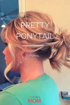 Love this hair tutorial for a pretty ponytail hairstyle! Works for long hairstyles and hairstyles for medium length hair. This will totally jazz up your mom hairstyle! (quick easy curls medium lengths)