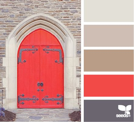 red door...............  ....... This is another way to work with color that I love - several subdued colors and then something bright makes a pop and a small spotlight of color, inevitably making every one of the colors look better! KL