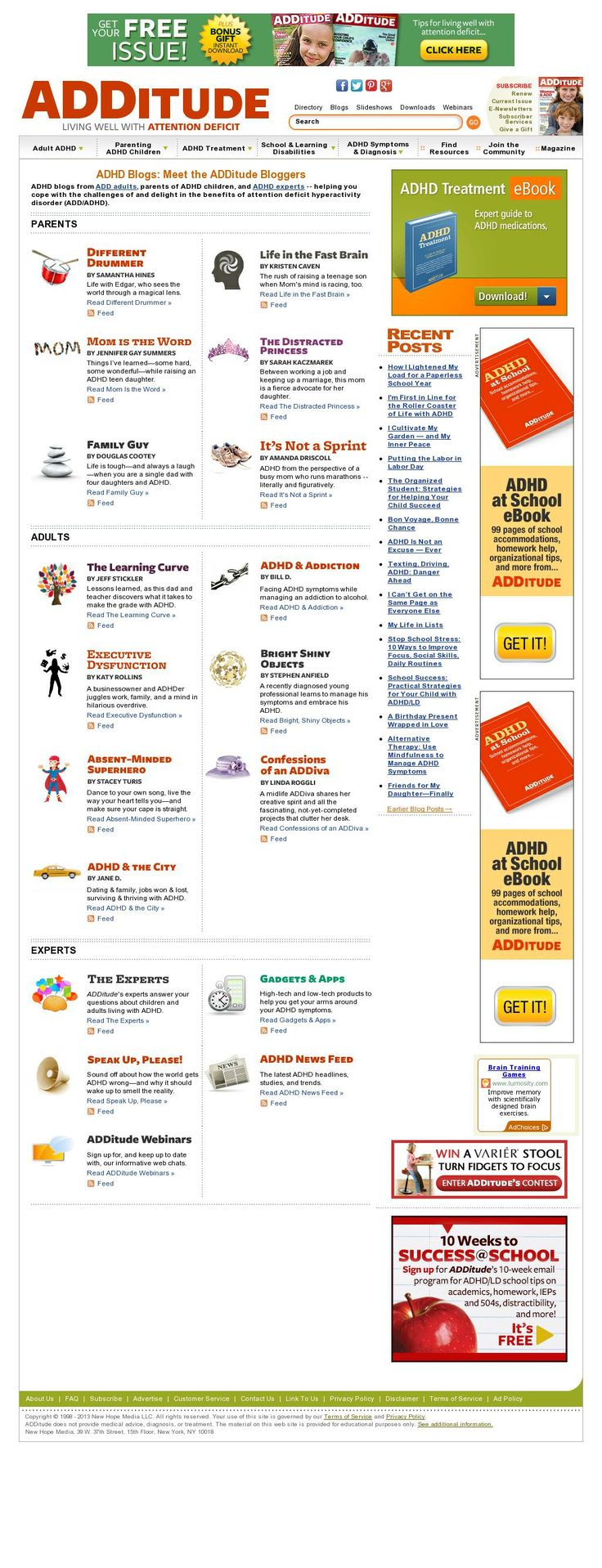 Meet the ADDitude Bloggers - ADHD blogs from ADD adults, parents of ADHD children, and ADHD experts. Find your favorites to follow. (Screenshot courtesy of http://pinstamatic.com)