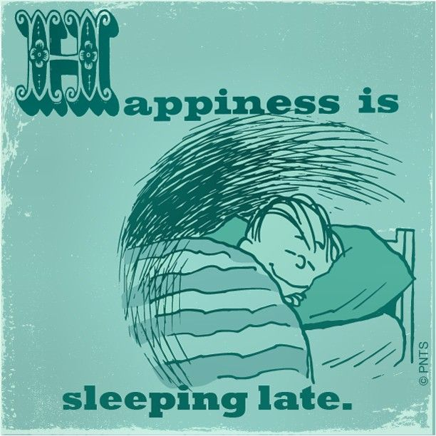 Peanuts - Happiness is sleeping in late.