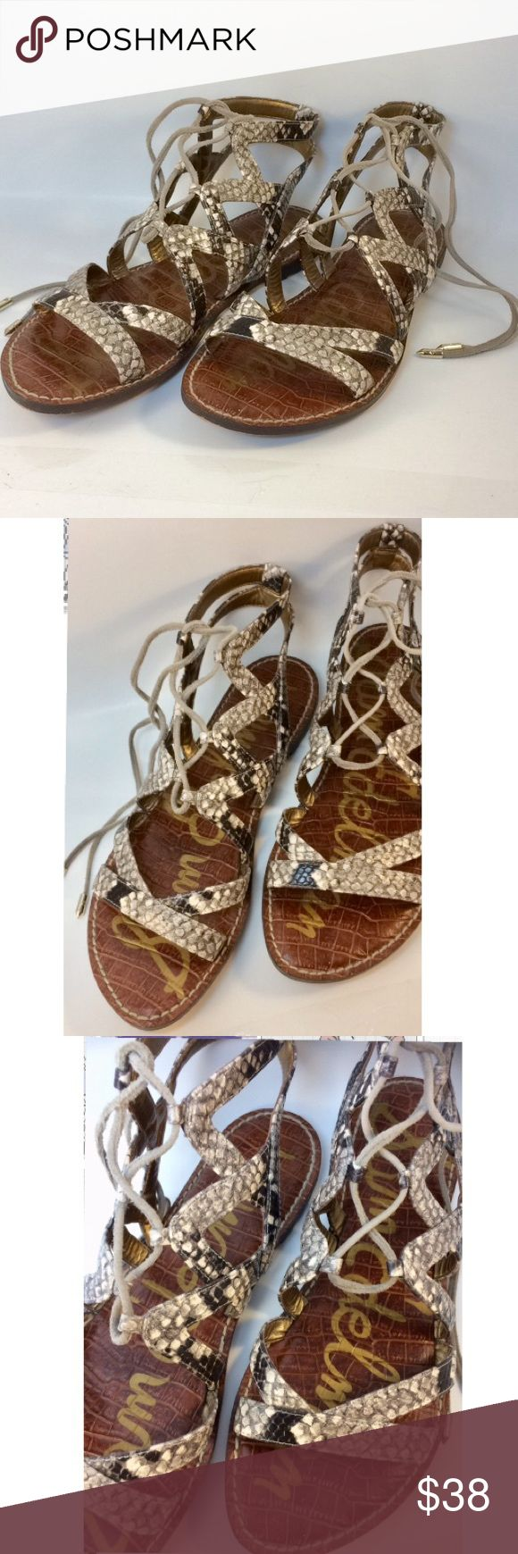 ♨️NEW ITEM♨️ Sam Edelman Leather Gladiator Sandals Sam Edelman Women's Gemma Sandal - Roccia Baja Snake Leather Gladiator Sandals • Heel measures approximately 0.5 inches • Perfect your chic ensemble in these modern Gemma gladiator sandals • Leather upper • Lace up design • Open toed, caged silhouette • Synthetic lining. Lightly padded footbed. Synthetic sole. Imported. Sam Edelman Shoes Sandals