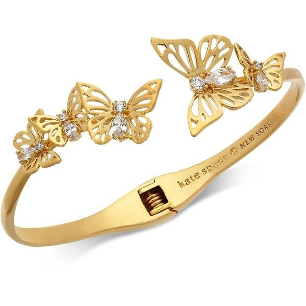 0448a8cd68afe kate spade new york Gold-Tone Crystal Butterfly Hinged Cuff Bracelet ...