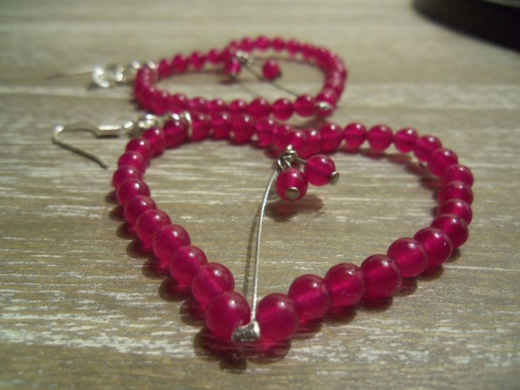 Heart shaped earrings with jade gemstone