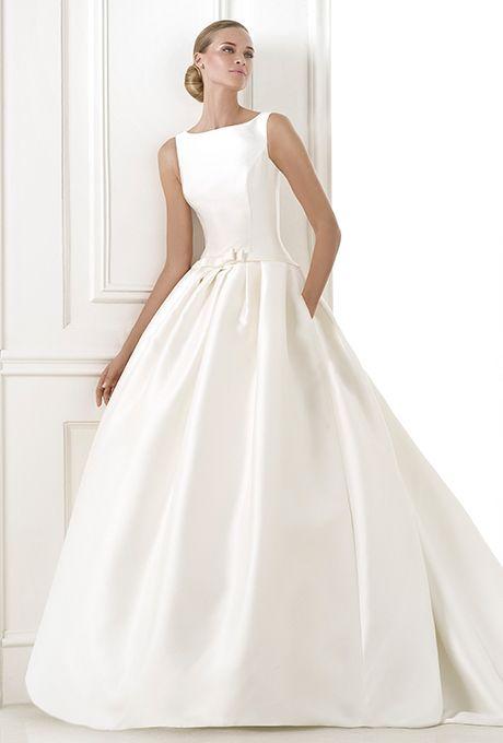 Brides Pronovias Low Waisted Princess Style Dress In Mikado Silk