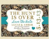 camo invitations for a gender reveal party   The Hunt is Over - Save the Date Postcard - Camo