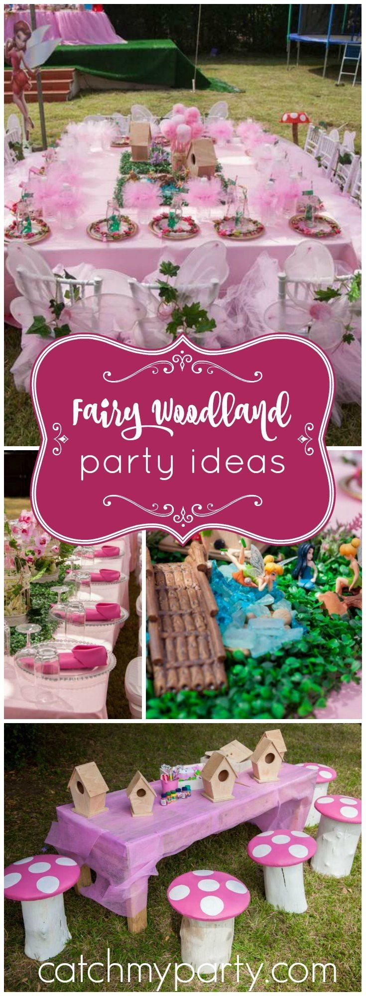 Loving this whimsical fairy garden party with fun activities for the guests! See more party ideas at Catchmyparty.com!