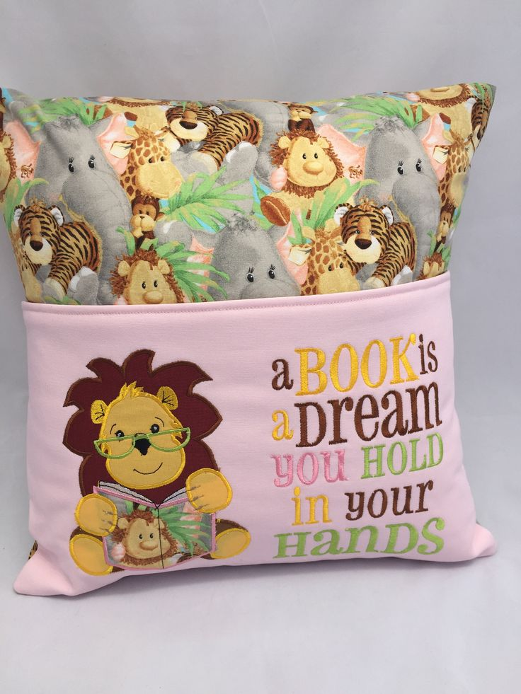 Lion Pillow, Reading pillow, Book pocket, Child's reading pocket pillow, Pastel jungle print, Cover fits 16 in square pillow form by JazzyJoDesigns on Etsy