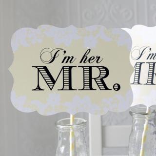 フォトプロップス/プロップス/結婚式/ウェディングフォト/イエロー/黄色/レース/photoprops/wedding/yellow/race/mr&mrs