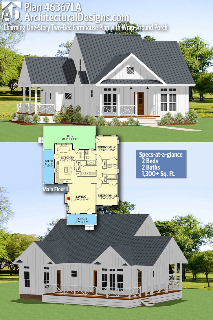 Plan 46367LA Charming OneStory TwoBed Farmhouse Plan