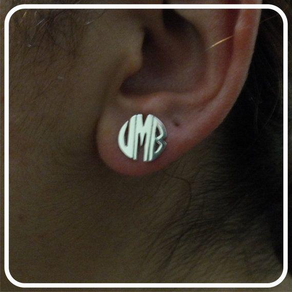 Circle Monogram earring 925 ct Sterling Silver by istanbuljewel, $35.00