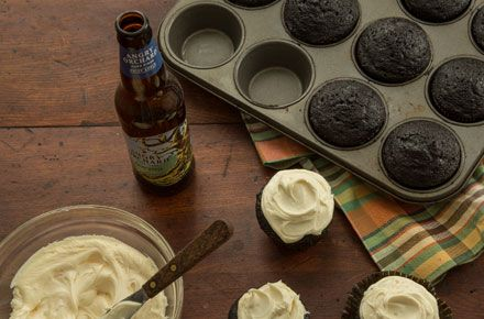 Black Velvet Cupcakes with Angry Orchard Cream Cheese Frosting