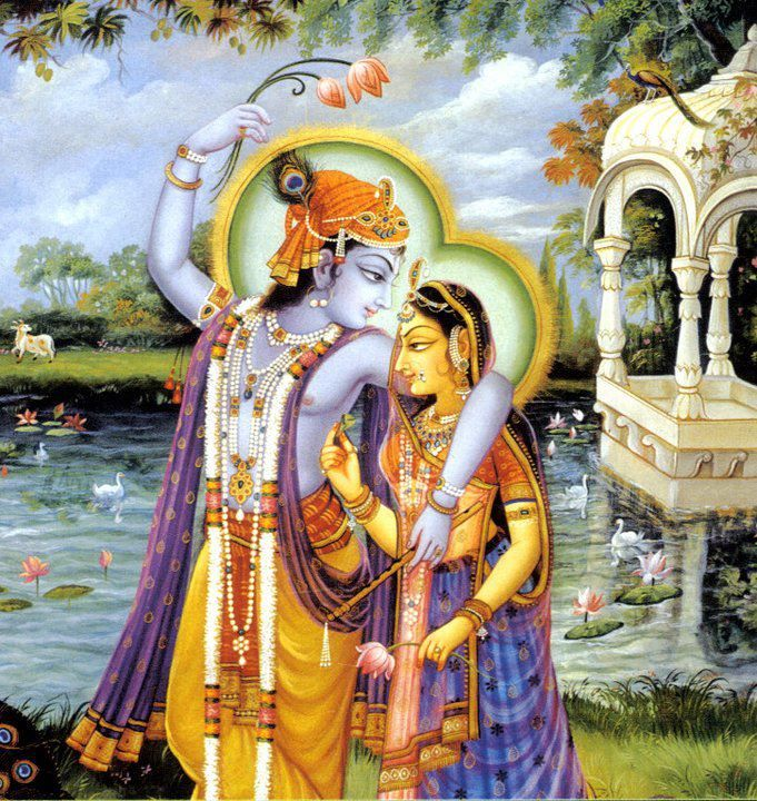 """That is why, it is said, """"Atma Tu Radhika Tasya"""" (Radha, you are His soul). One form of Radha is, she is the devotee, worshipper of Krishna and in the second form she is the worshipped, devoted to by Krishna. 'Aradhyate Asau itii Radha.' Radha – Krishna's love is the symbol of the feeling of being united. When two souls are united, they become one, devoted and devotee of one another forever."""