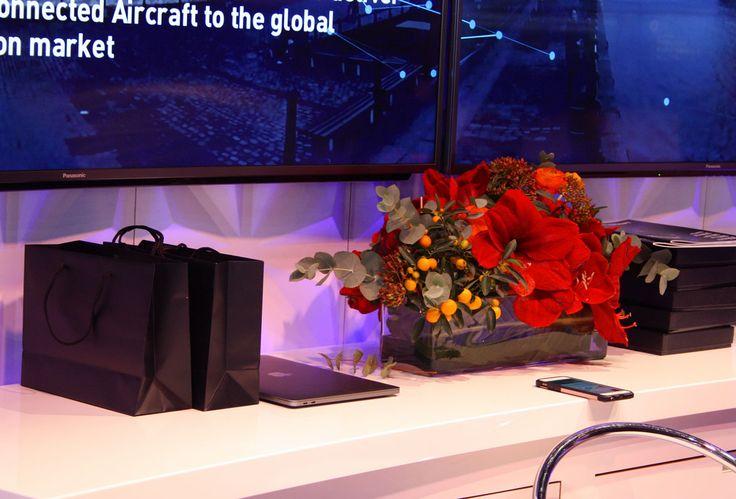 Counter Dekoration, Gesteck mit Amaryllis, decoration flower, fair Hamburg