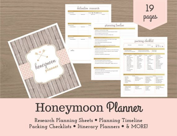HONEYMOON PLANNER   PDF FILE   19 PAGES  Congratulations on your engagement! Now its time to start dreaming of your ideal honeymoon. Just like planning your wedding, planning a successful honeymoon requires preparation and organization. The Honeymoon Planner is the perfect tool to help you achieve a honeymoon that is as romantic and perfect as you imagine it! The 19 pages in this planner will take you step-by-step to keep every detail organized, from establishing a budget and brainstorming…
