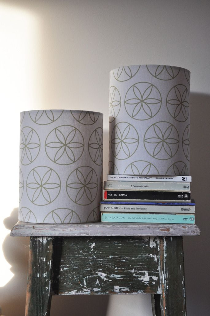 'flower of life' (table) Lampshades (C1) - hand printed on eco fabric with water-based inks. To find out and more and to purchase my products visit www.pinchriver.co... (formerly stilelemente) - All designs are copyright Pinch River / Gabriella Tagliapietra
