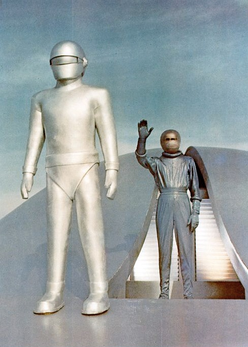 Gort (Lock Martin) and Klaatu (Michael Rennie) from The Day the Earth Stood Still (1951)