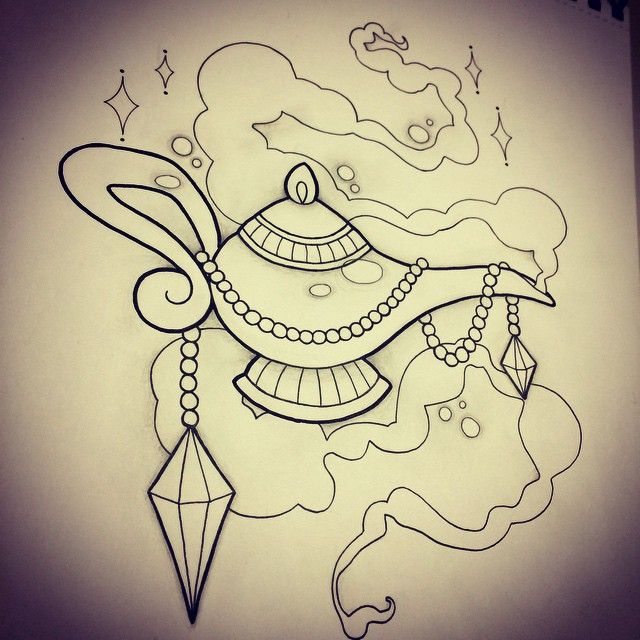 Genie Lamp Design by Rebekka Rekkless via @rebekkarekkless on Instagram. Tattoo apprentice at Adorned Tattoo, Dorset UK. https://www.facebook.com/AdornedTattoo