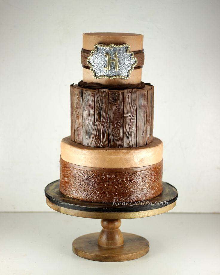 Rustic Western Cake with Leather, Wood and a Belt with Buckle - all edible | RoseBakes.com