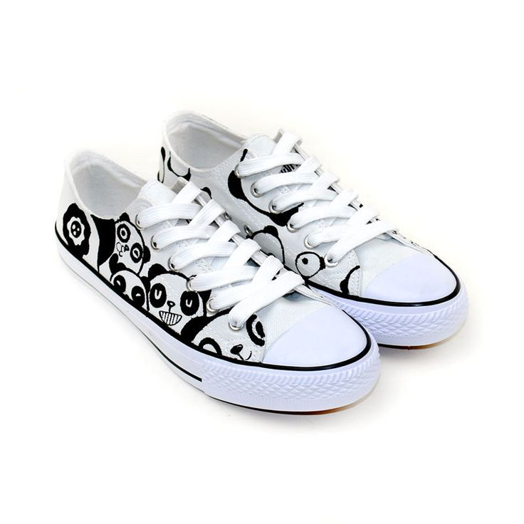 cute panda series couple matching low top hand painted