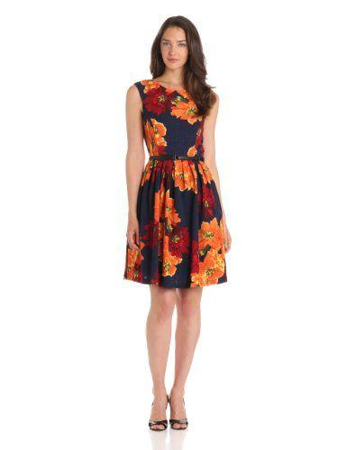 Amazon.com: Ellen Tracy Women's Cap Sleeve Printed Kenya Fit and Flare  Dress: