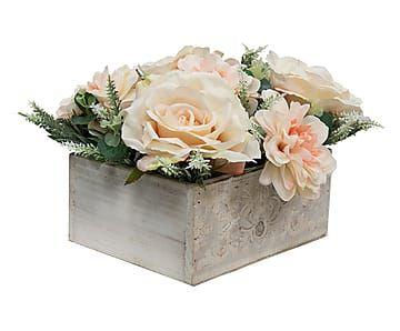 Centro de mesa con rosas y dalias artificiales