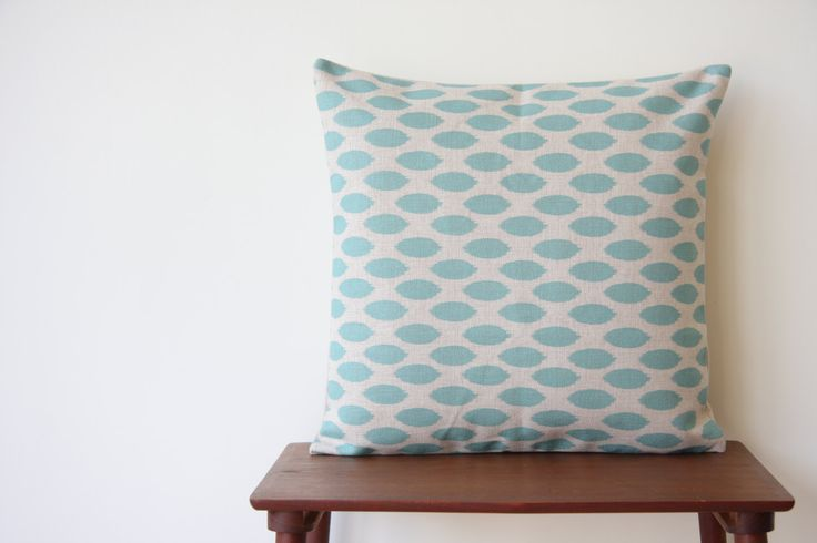 "Geometric Pattern Blue Aqua Turquoise Dots Decorative Pillow Cover Cushion Cover Throw Cushion Cover 18""x18"" by BeadandReel on Etsy"