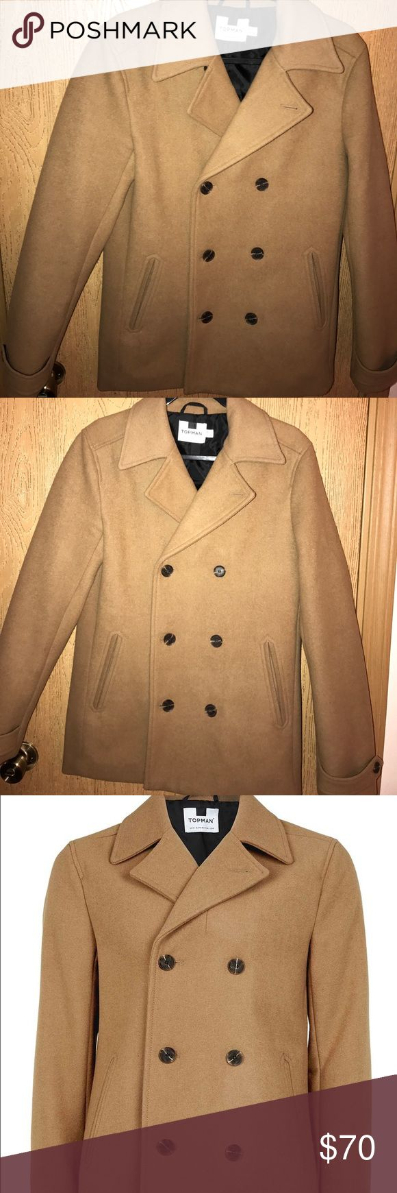Roman Camel Peacoat - Camel wool peacoat with button details . 50% Wool, 40% Polyester, 10% Viscose Dry clean only. Like new worn a couple times.no defects . -Sz Small 36-38 Topman Jackets & Coats Pea Coats