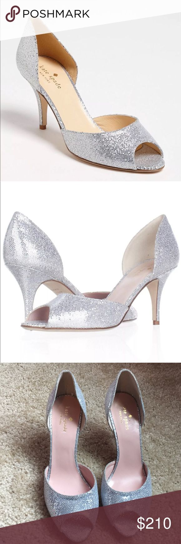 New! Kate Spade Glitter Silver starlight peep -7 These are brand new without box. Size 7  Brand: Kate Spade New York Heel: 3.50 inches Material: Synthetic Color: Silver/Starlight Size:7 US Toe-Shape: Peep-Toe   Smoke free  home kate spade Shoes Heels