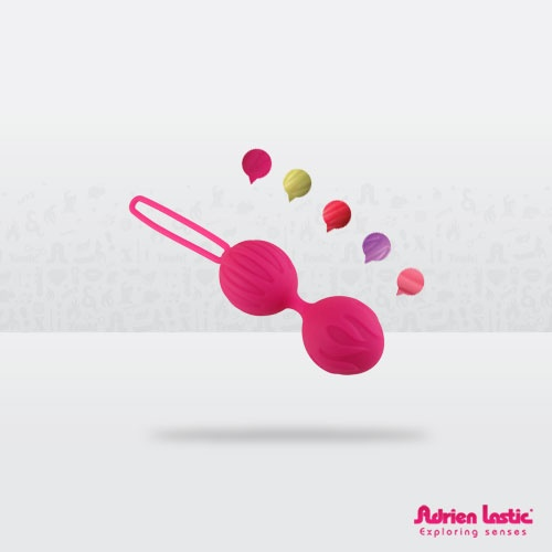 Geisha Balls S  The LASTIC GEISHA BALLS Adrien Lastic have a unique design in a wide range of colors. They are made from high quality silicone material that provides a pleasant texture, and makes the ball joint between a flexible but sturdy and safe. Our patented indoor balls, is novel and reinforces the effect of subtle and silent vibrations that help stimulate and exercise the pelvic floor area and control to achieve vaginal intercourse more pleasurable. 100% silicone.