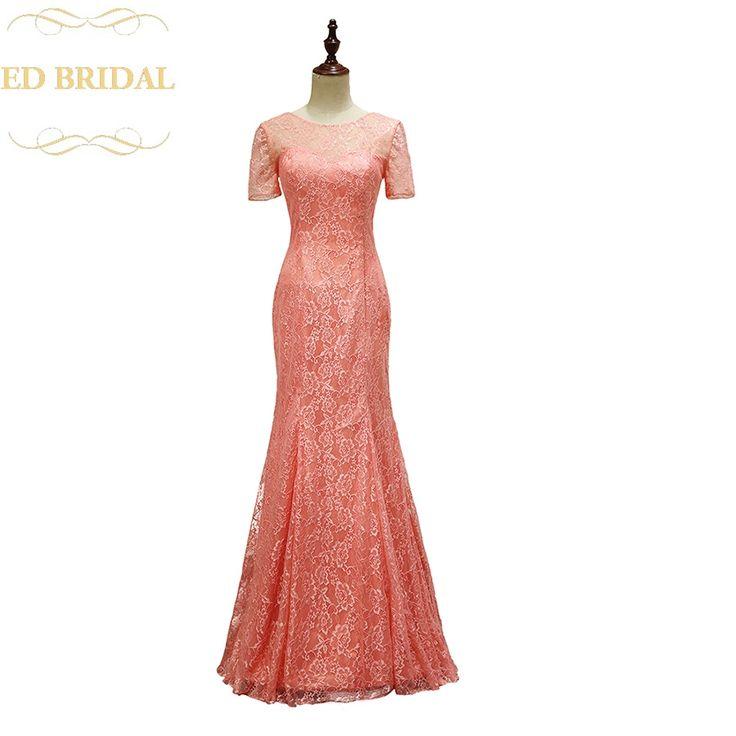 Short Sleeves Lace Mermaid Long Coral Bridesmaid Dress Wedding Party Dress vestido de madrinha robe demoiselle d'honneur