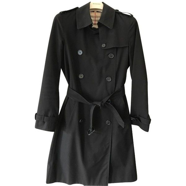 Pre-owned Trenchcoat (£595) ❤ liked on Polyvore featuring outerwear, coats, black, burberry coat, plaid coat, burberry trenchcoat, sleeveless trench coats and long coat