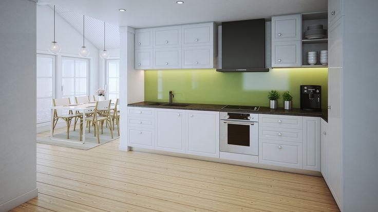 Åpen og smart planløsning og godt med lysinnslipp gjør at denne boligen virker romsligere og større enn det den egentlig er.