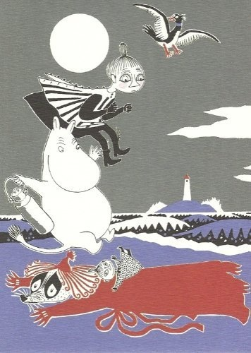Retro Moomin Postcard - Moomintroll, Mymble and Little My jumping