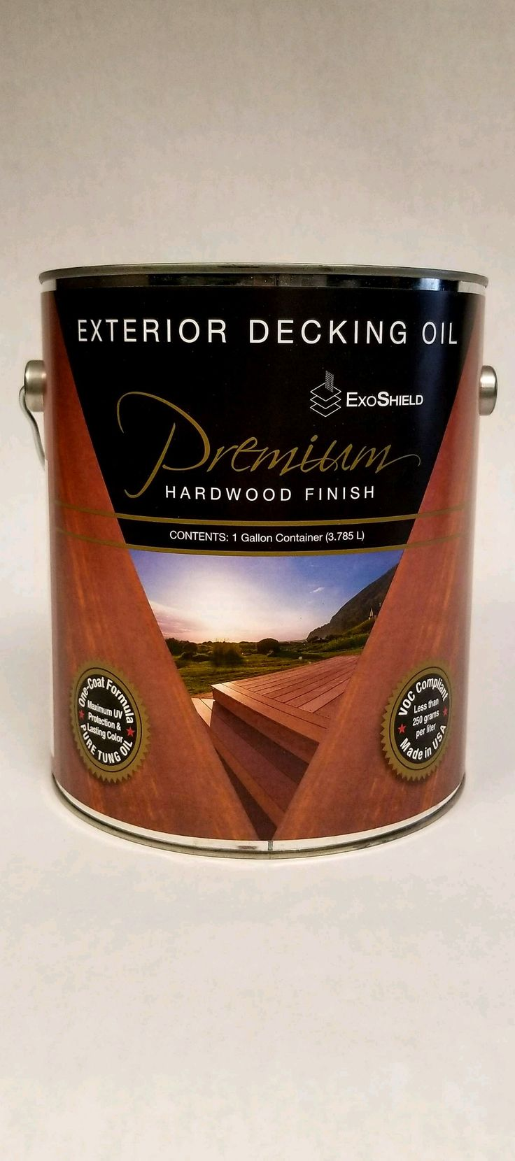 ExoShield Hardwood Decking Oil by Nova USA Wood. The Finest Exterior Wood Finish on the Market. Pure Tung Oil and Pigment Deck Finish. UV Protection, Low VOC, California CARB Compliant, Made in the USA.