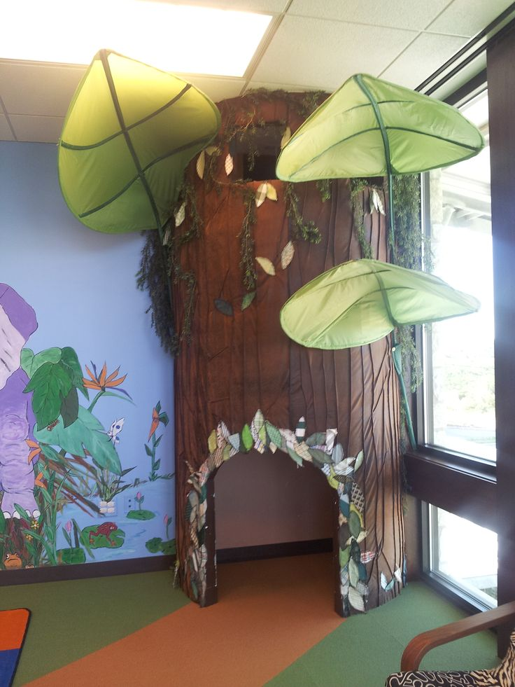 Library tree in the children's area at the Laura Bush Community Library